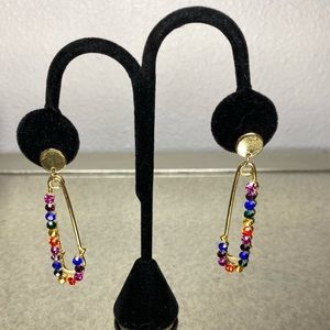 Brand New Rainbow Jeweled Safety Pin Earrings